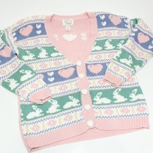 Vintage Cute Pastel Knit Easter Bunny Cardigan